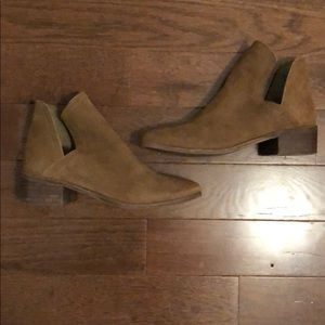 Suede Camel Booties with Side Cutouts